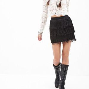 Forever 21 | Black Tiered Fringe Miniskirt 🖤